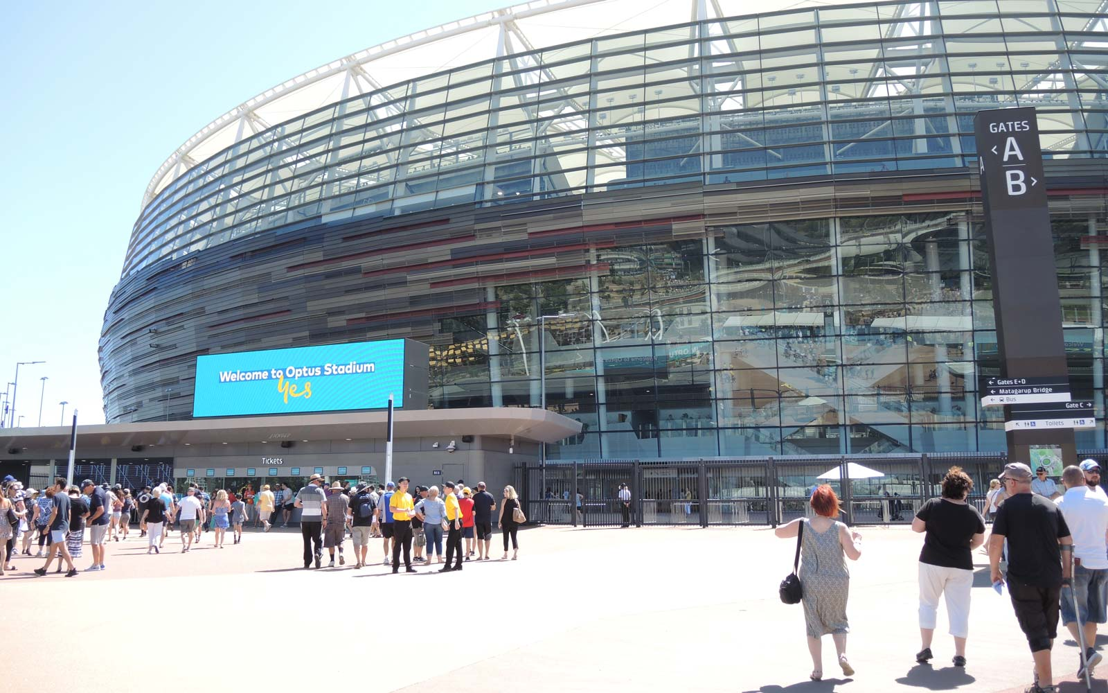 Optus Stadium Entrance. Welcome to Optus Stadium.
