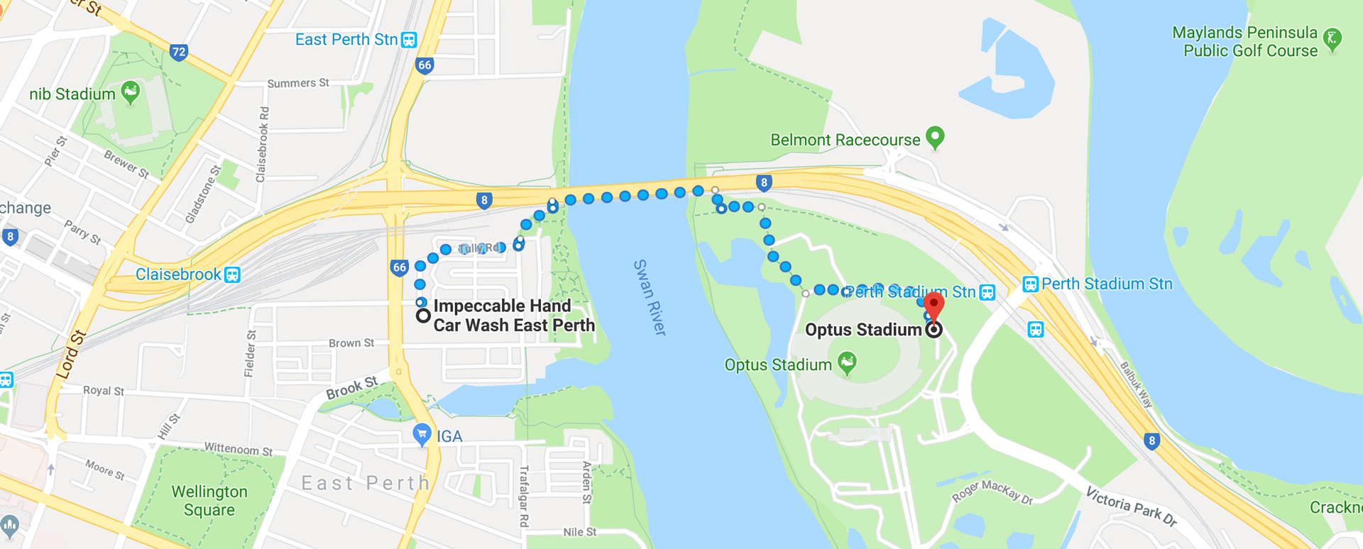 Walk from Impeccable Hand Car Wash & Detailing to Optus Stadium